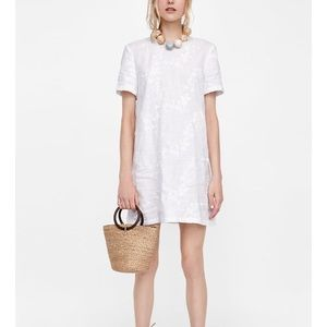 ZARA Off White Linen Dress With Floral Embroidery